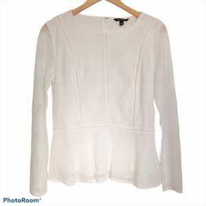 Banana Republic Lace Eyelet Peplum Blouse White S